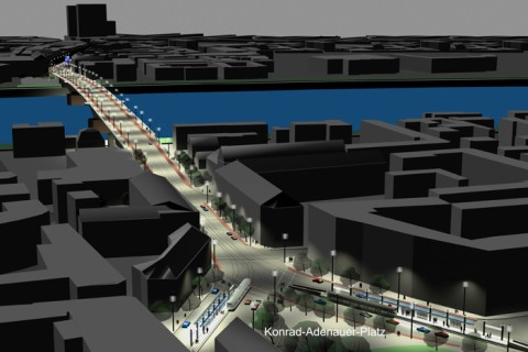 Modell Kennedybrücke Blickrichung von Beuel