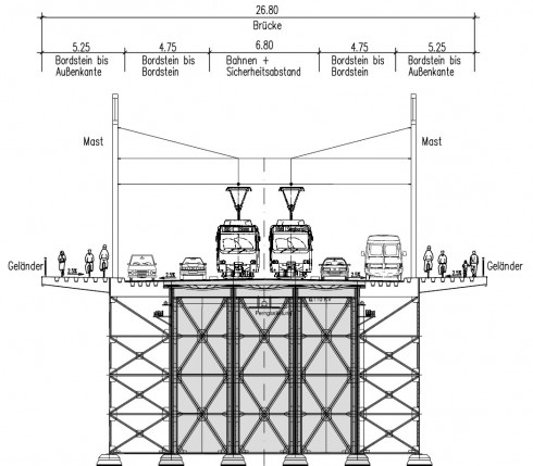 Querschnitt Bonner Kennedybrücke