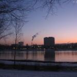 Beuel Blick übern Rhein Schornstein