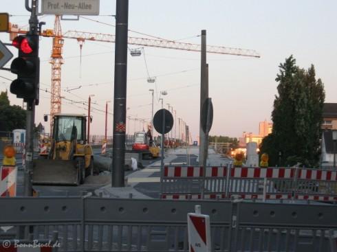 Beuel Kennedybrücke Nordseite Richtung Bonn noch gesperrt - 24.08.09