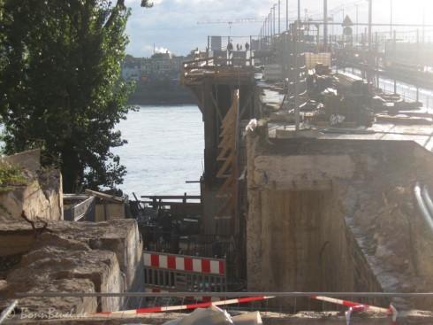 Bonn Kennedybrücke: neue Brückenteil, Übergang alter Brückenkopf