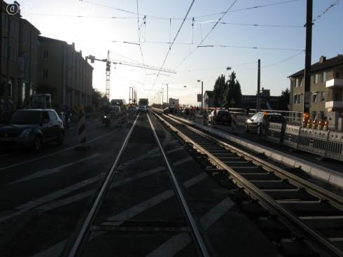 Brückenauffahrt in Beuel: Schienenerneuerung 09.10.09