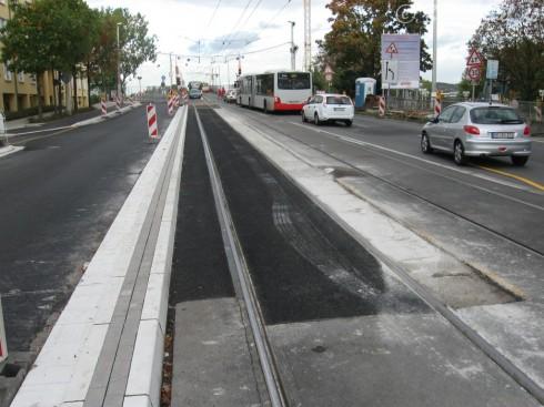 Kennedybrücke 13.10.09 Bonner Brückenzufahrt: Gleiserneuerung Teil 2