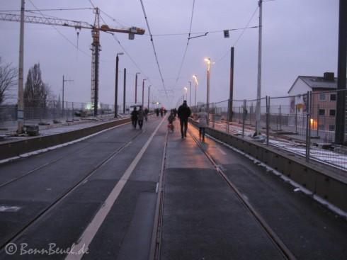 Kennedybrücke auf dem Weg von Beuel nach Bonn - 1.1.10
