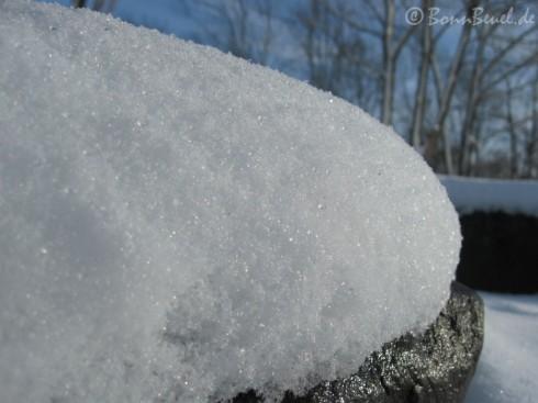 Schnee glitzert und taut auf einem Stein am Rhein